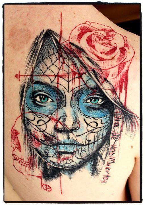 tattoo idea tattoos skull tattoos sugar skull. Black Bedroom Furniture Sets. Home Design Ideas