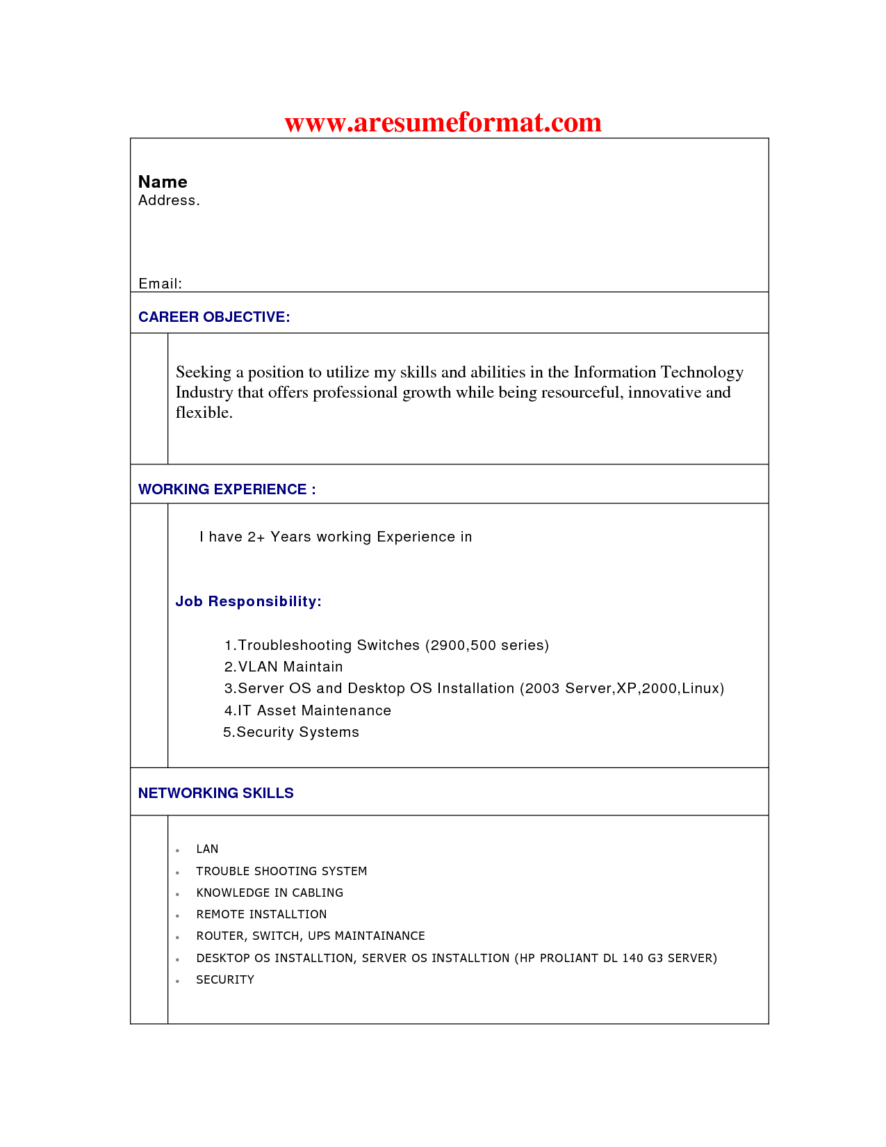 Resume Format For Engineering Students  HttpWwwResumecareer