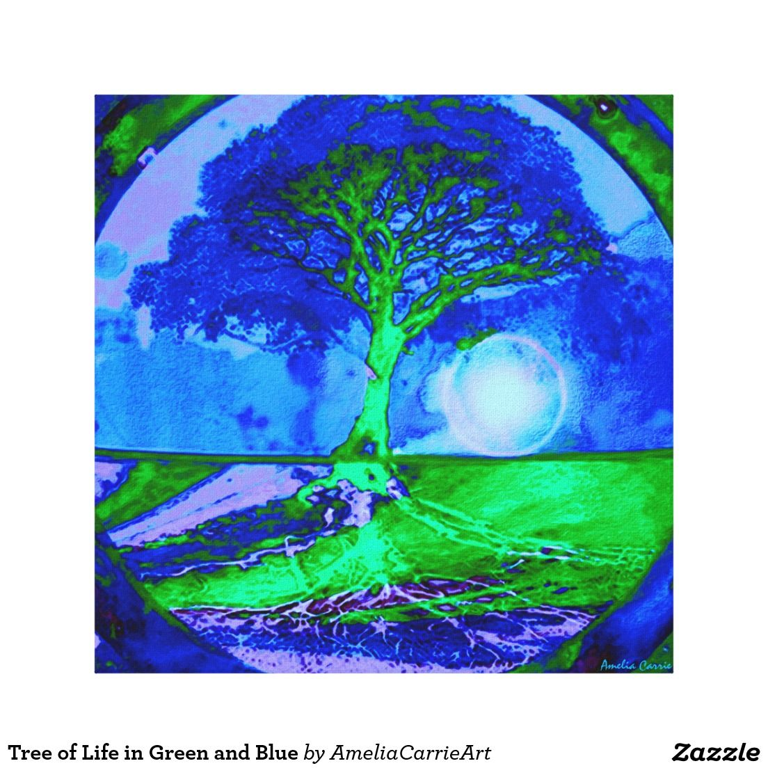 Tree of Life in Green and Blue Canvas Print