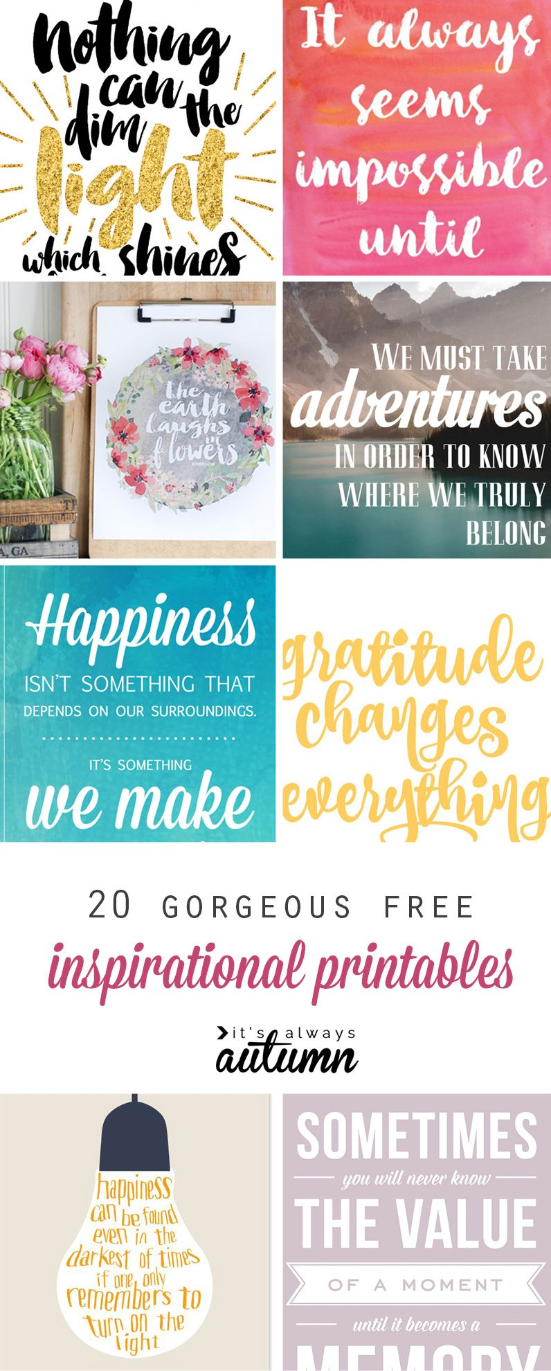 20 & modern FREE inspirational quote printables
