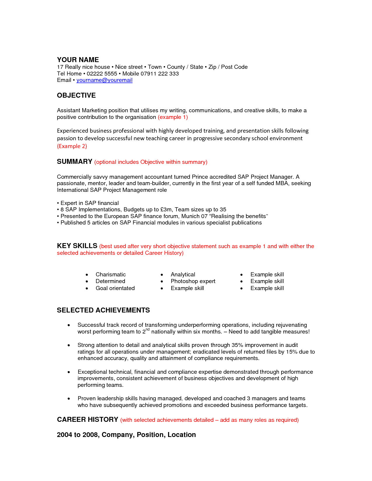 writing a resume for a career change