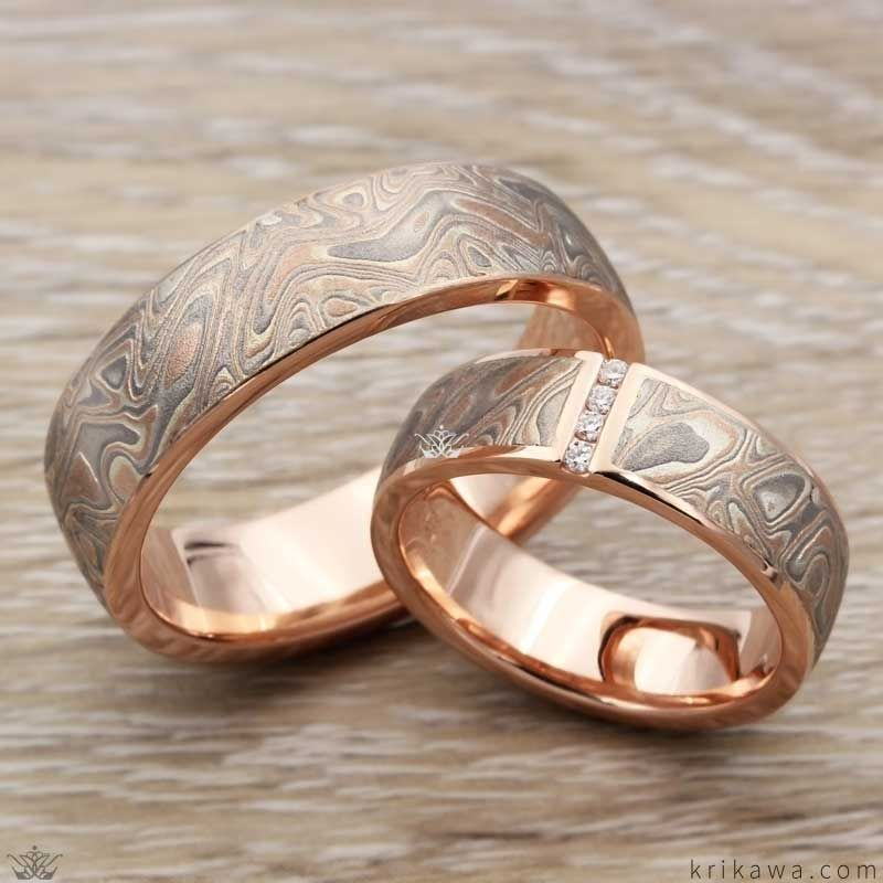 This Wedding Ring Set Was Done In Krikawa S Summer Mokume Gane And 14k Yellow Gold The Mokume Wave Engagement Vintage Style Rings Fashion Rings Fabulous Rings