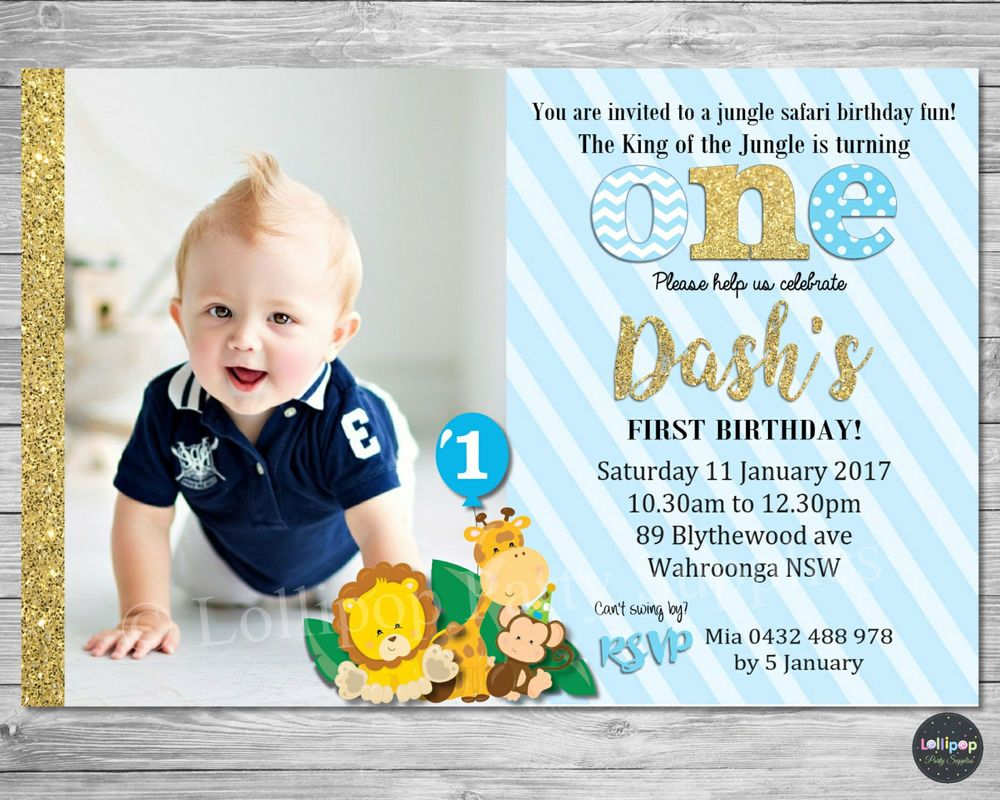 Jungle animals party supplies 1st first birthday boy invitation gold ...