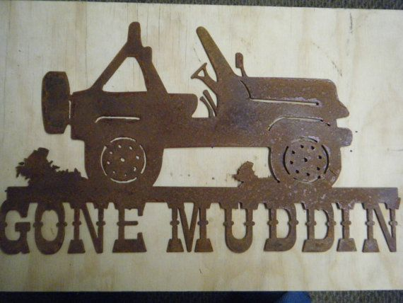 Free Shipping Rusted Metal Gone Muddin With Jeep Wall Hanging Rustic Metal Wall Hanging Steel Art