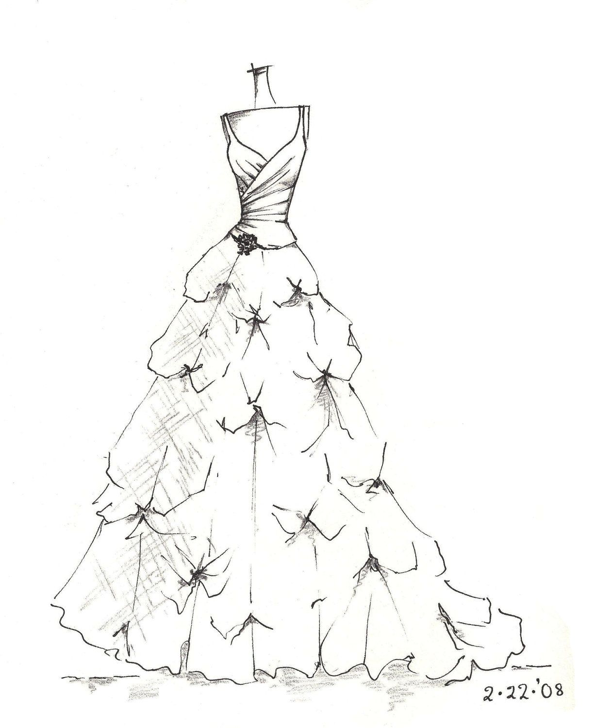 Wedding dress drawing  custom gown sketch great gift for anniversary or by dresssketch