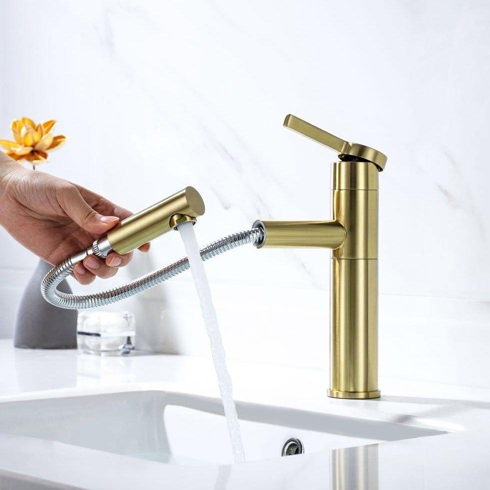 Modern Luxury Brushed Champagne Single Handle One Hole Bathroom