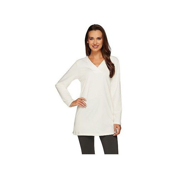 Denim & Co. Essentials Perfect Jersey Crossover V-Neck Tunic ($29) ❤ liked on Polyvore featuring tops, tunics, plus size, white v neck top, plus size white tops, sweater pullover, womens plus size tunics and v neck pullover