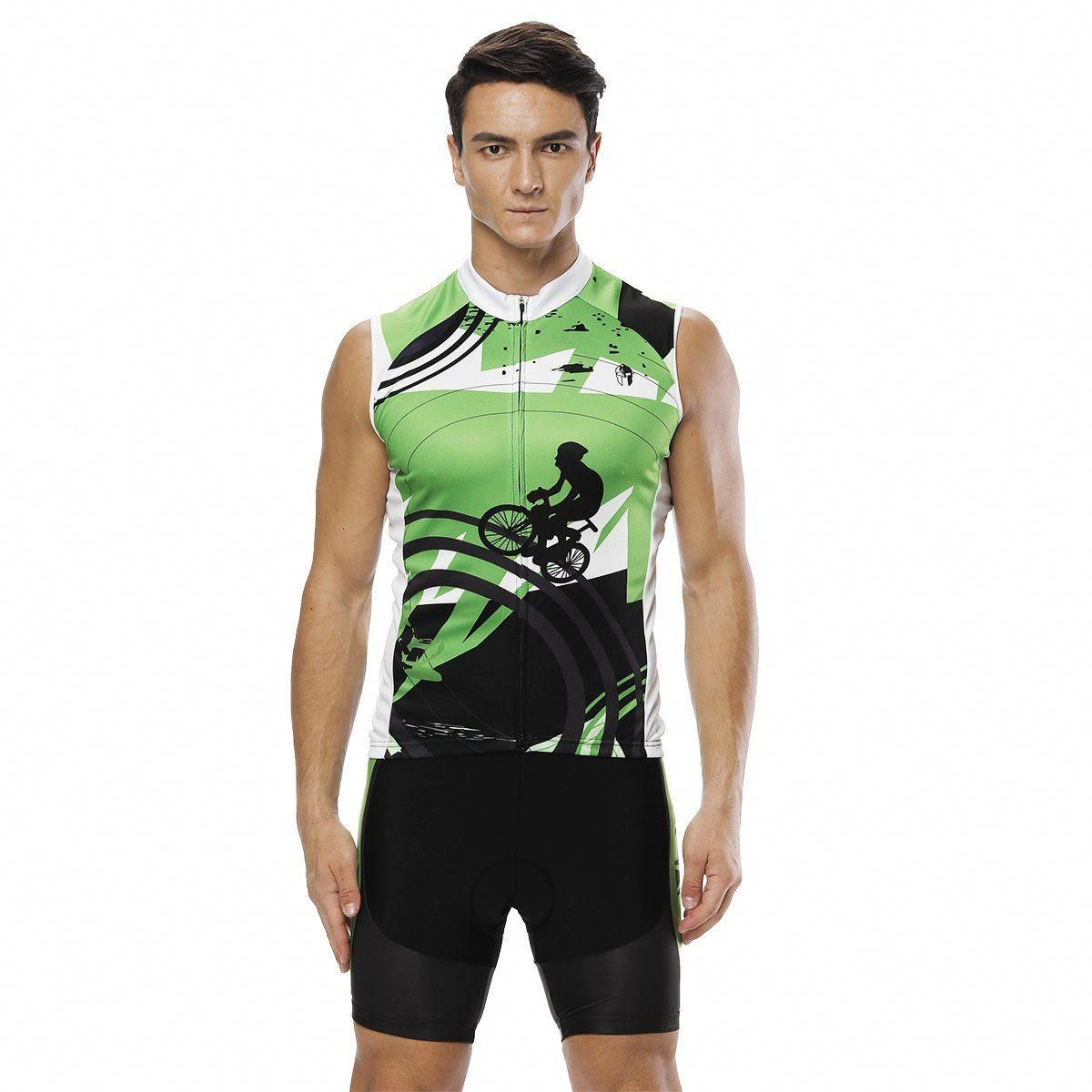 Green Cyclist Men S Cycling Sleeveless Bike Jersey Kit T Shirt