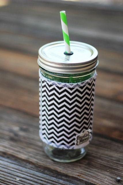 Chevron Mason Jar cup  24 oz large Tumbler w sleeve by HustleMama, $16.00