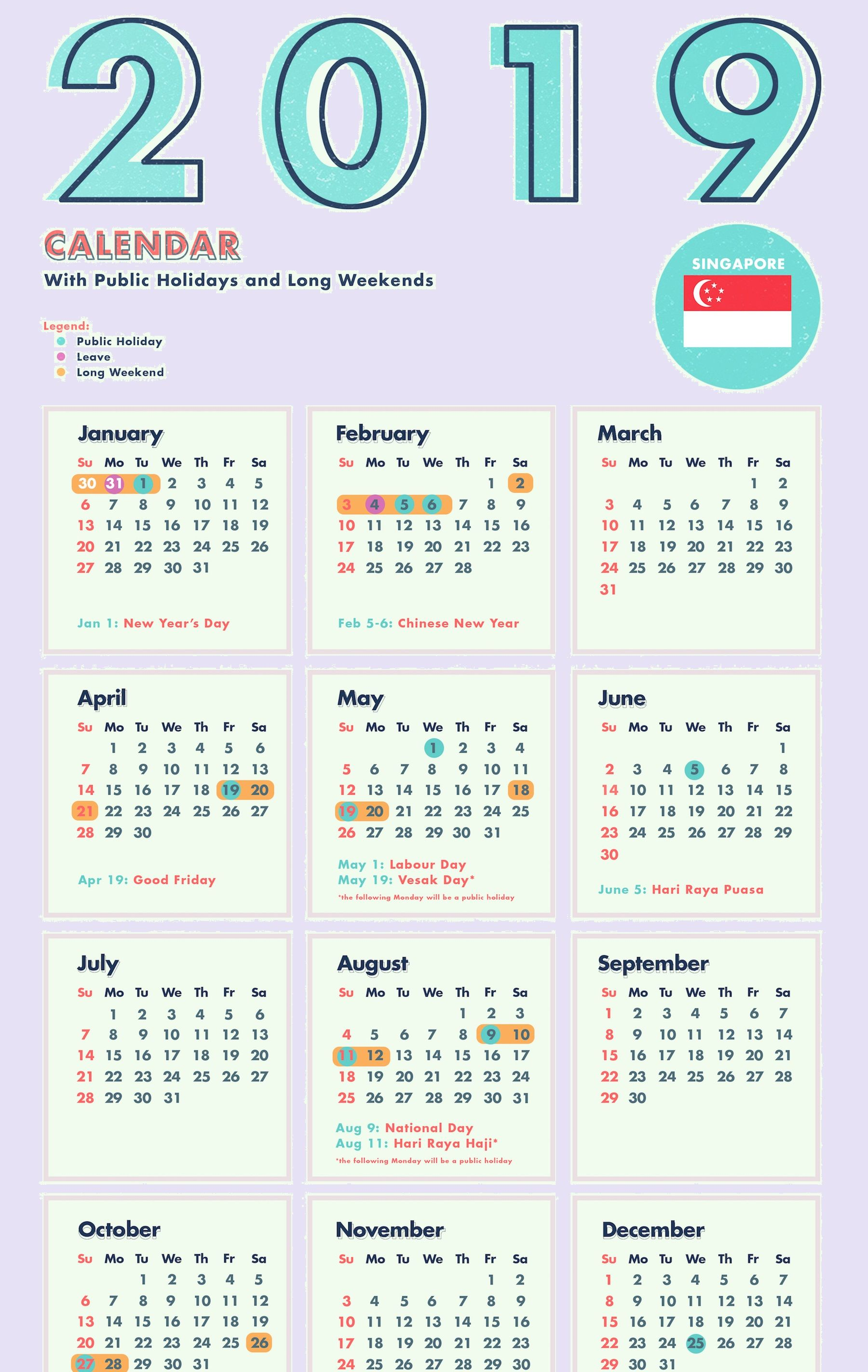 Singapore 2019 Calendar Template PDF, Excel, Word Public