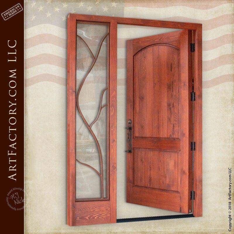 Custom Vine Theme Door Handmade Solid Wood Entrance With