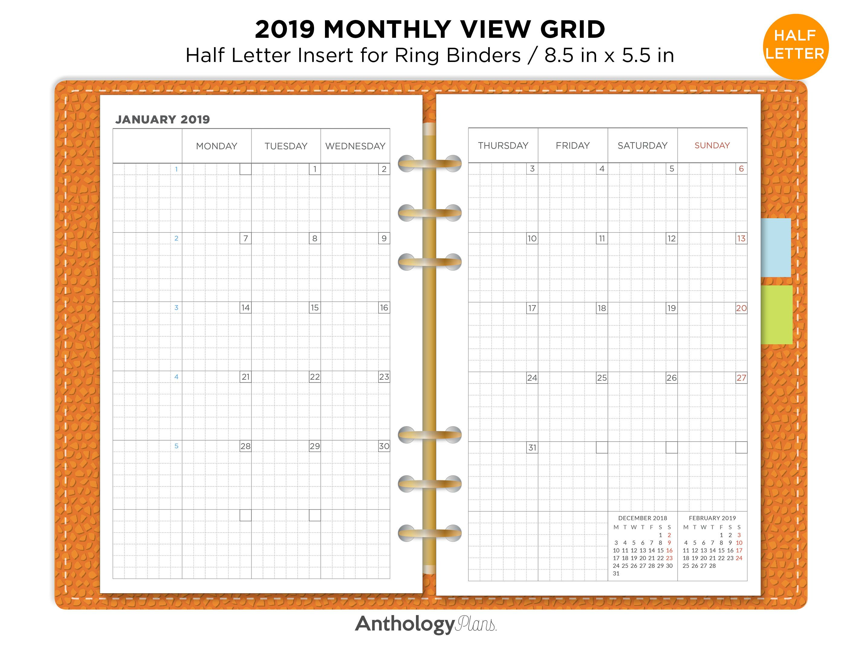 2021 Half Size Monthly Calendar | Huts Calendar