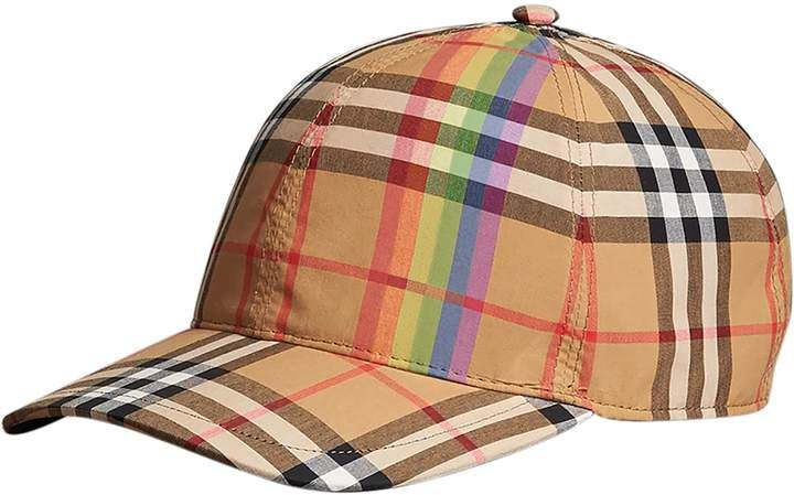 a01d4d7bb38475 Burberry Rainbow Stripe Vintage Check Baseball Cap in 2019 ...
