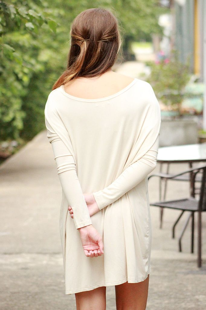 Piko - Scoop neck tunic dress - Sand ,  - love june, Love June Boutique  - 3