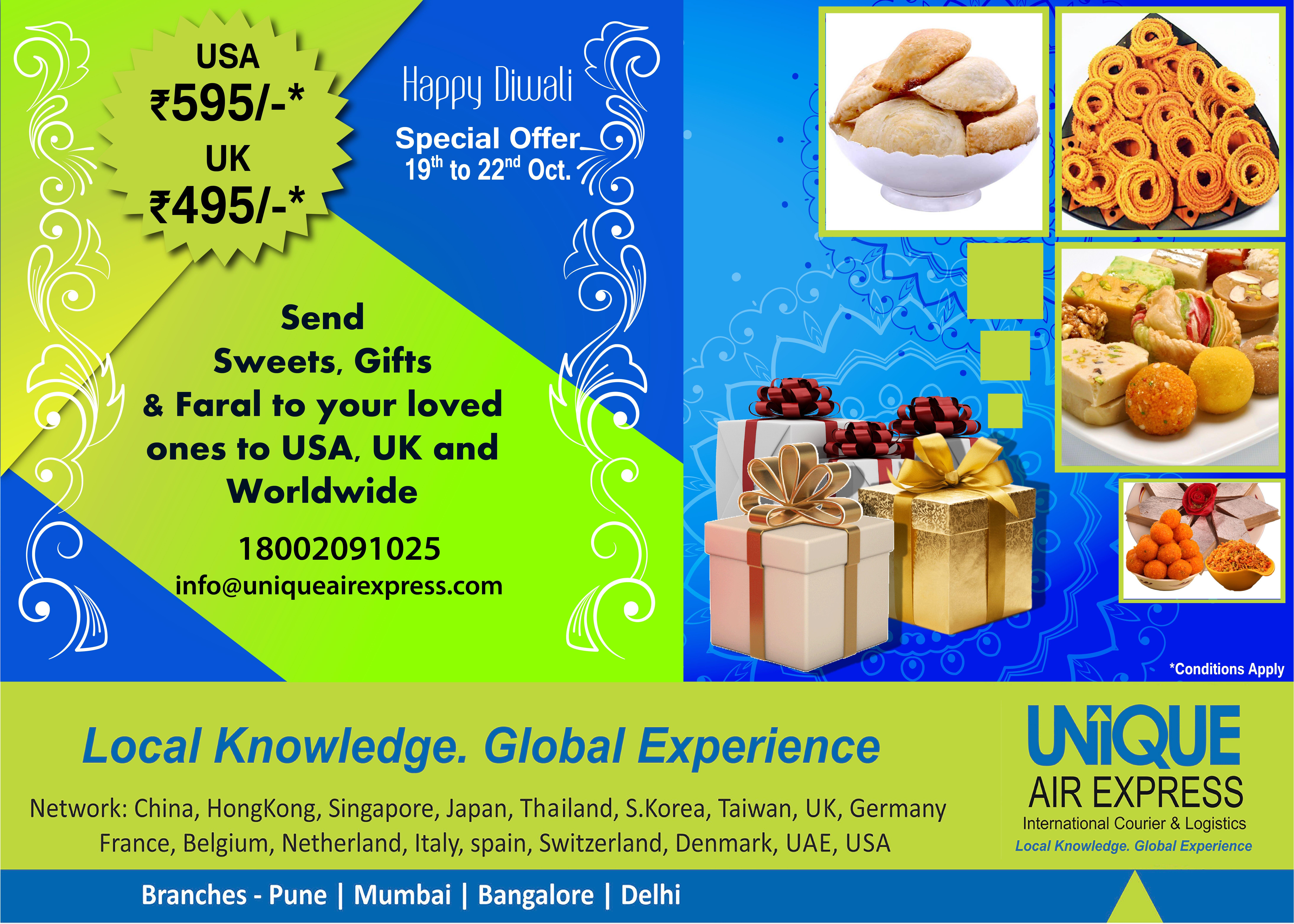 Special Offer just 5 days away! Sending Diwali Parcel