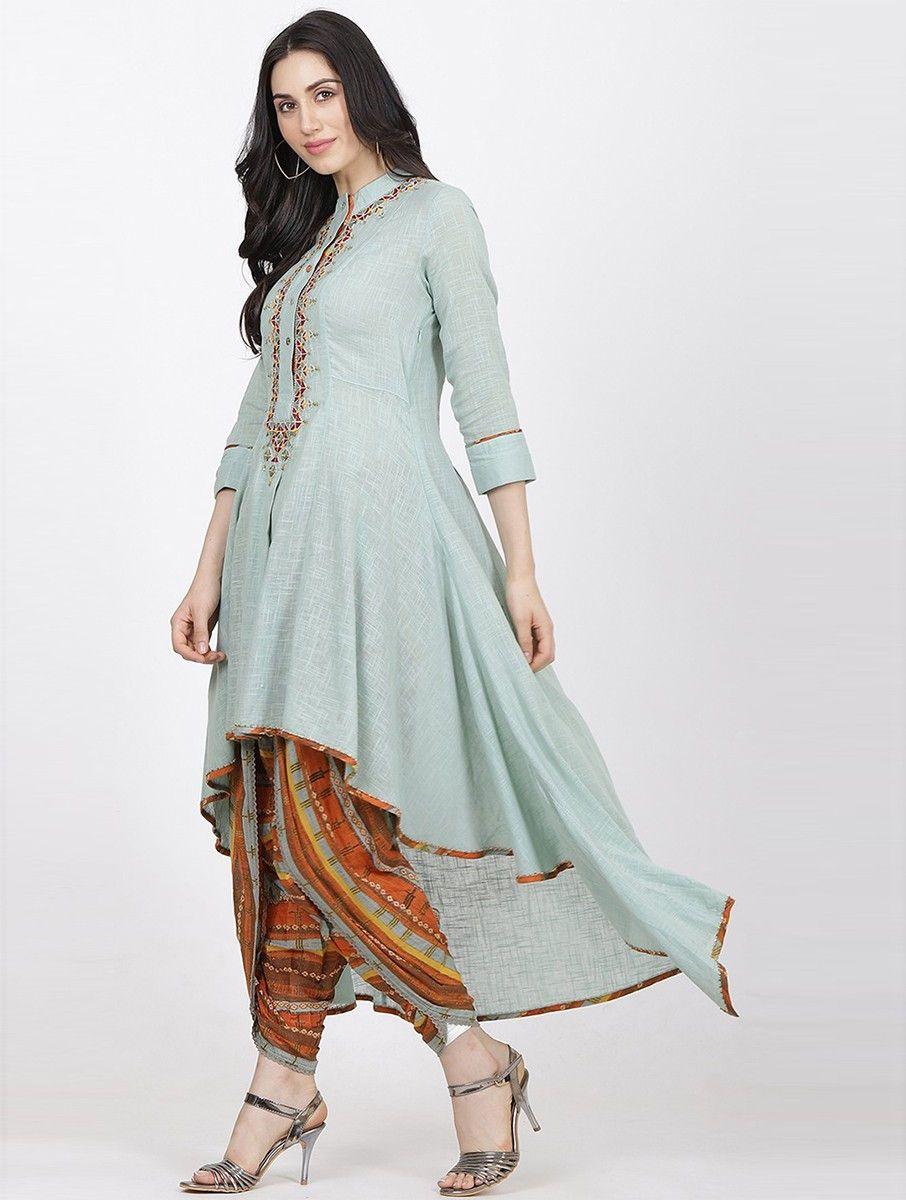 27b9446f644 Buy Turquoise Orange Cotton Slub Kurta with Dhoti Pants (Set of 2) Women  Kurtas Online at Jaypore.com
