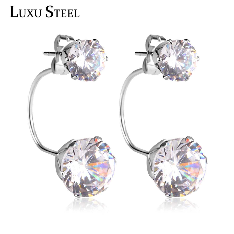 Luxury Zircon Australian Crystal Stainless Steel Stud Earrings Hypoallergenic Fashion Jewelry In From
