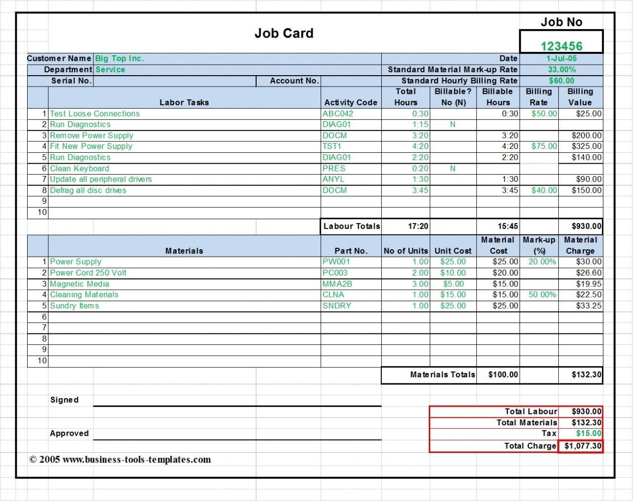 The Inspiring Workshop Job Card Labor Material Cost Estimator With Regard To Rate Card Template Word Picture Below Job Cards Maintenance Jobs Mechanic Jobs