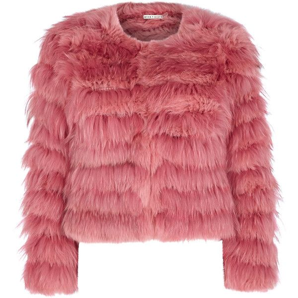 Alice + Olivia Fawn Pink Cropped Fur Jacket - Size L (€1.630) ❤ liked on Polyvore featuring outerwear, jackets, coats, striped jacket, fur jacket, red cropped jacket, cropped jacket and red fur jacket