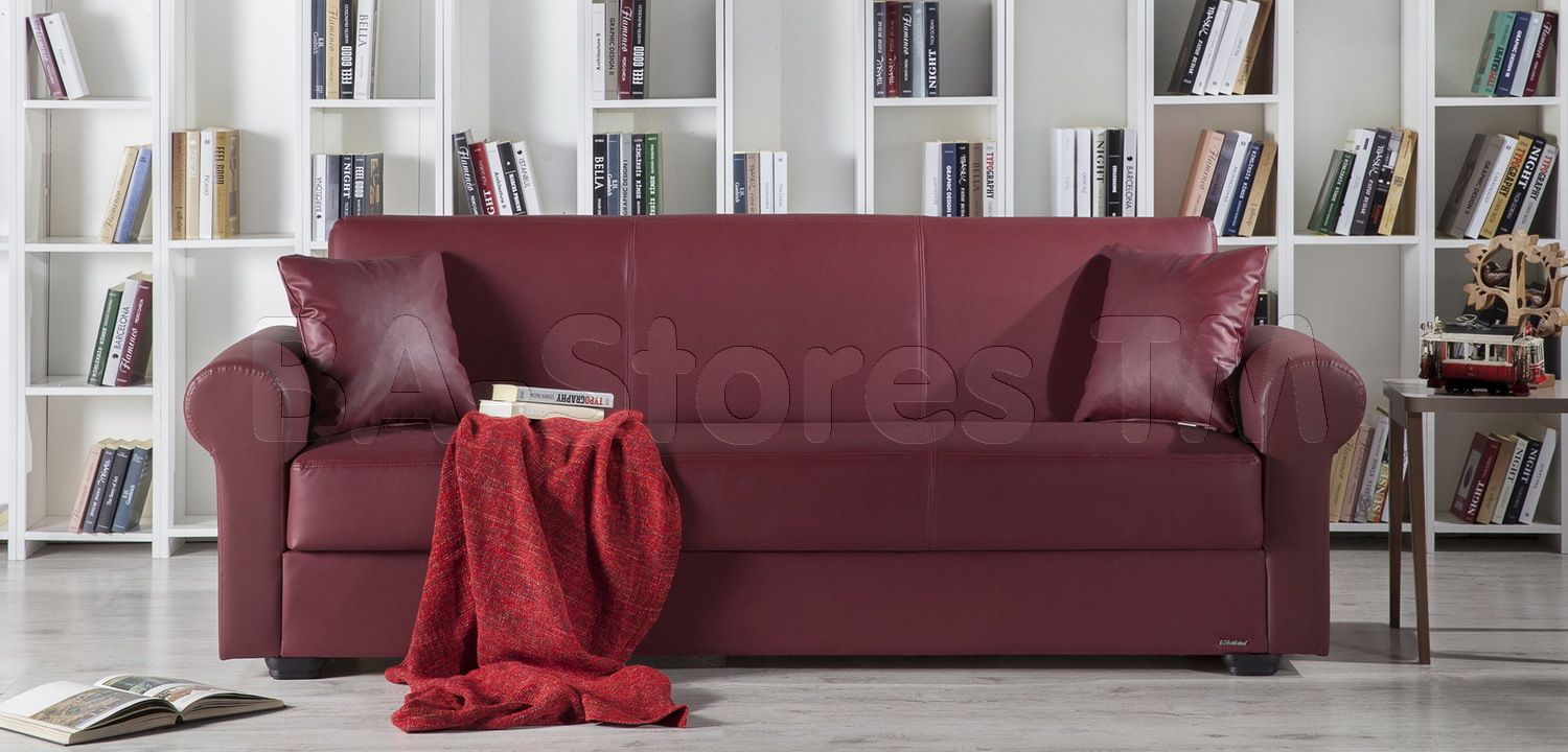 Floris Sofa Sleeper in Santa Glory Burgundy by Istikbal Sofa beds