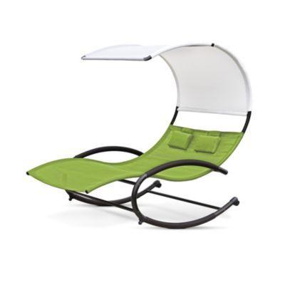 vivere double chaise rocker patio chair green apple sears