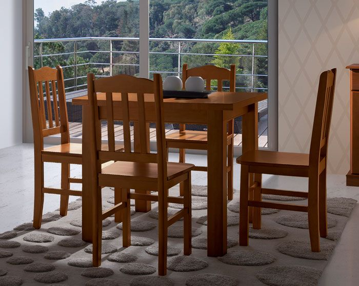 Mesa de comedor provenzal en color miel o nogal extensible, mas en ...