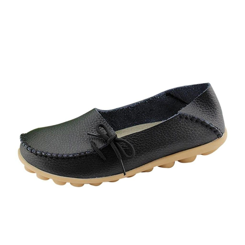07f3da33ce0 Women Work Comfort Leather Lace-Up Loafer Flats Pumps - Black ...