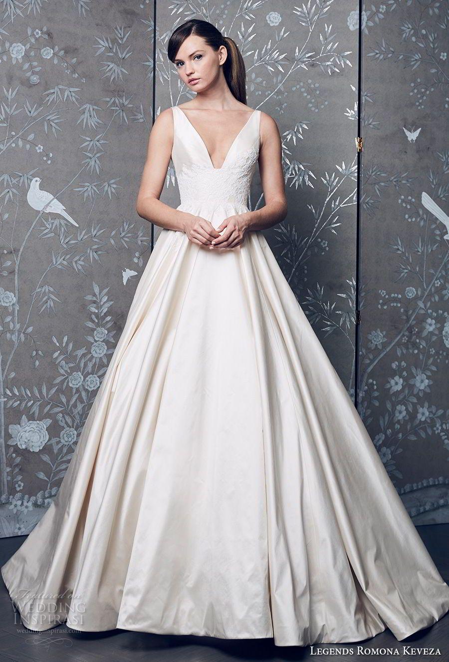 legends romona keveza fall 2018 sleeveless deep v neck simple light  embellished bodice satin skirt classic a line wedding dress (5) mv --  Legends Romona ... 8284e4b37