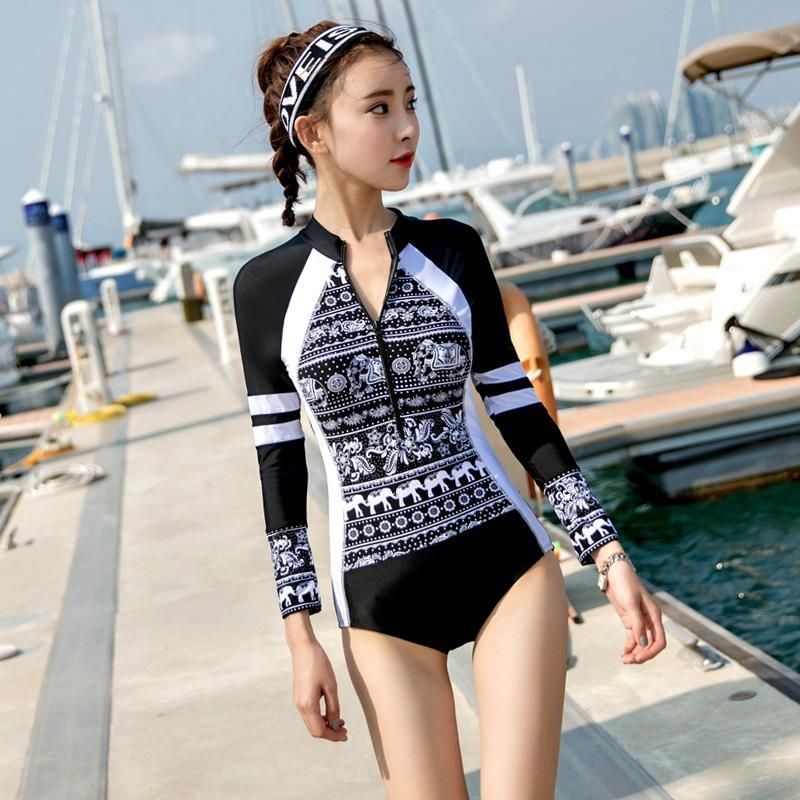 bfec6e5327732 LYSEACIA Long Sleeve Swimwears for Women One Piece Swimsuit Zipper Rash  Guards Slim Girl Summer Swimming Suit RASHGUARD Printed