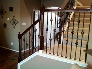 White Stair Rail Kit With 17 Balusters 5457099 At The Home Depot | Iron Spindles Home Depot | Ole Iron Slides | Wm Coffman | Stair Parts | Oil Rubbed | Deck