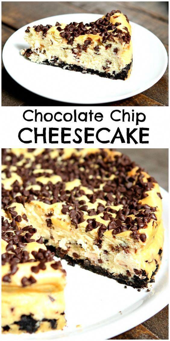 Easy Chocolate Chip Cheesecake Recipe - RecipeGirl.com #cheesecakedessertseasy
