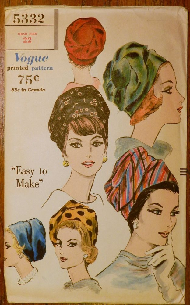 Vintage 1950s Vogue 5332 Sewing Millinery PATTERN Draped Turban HAT ...