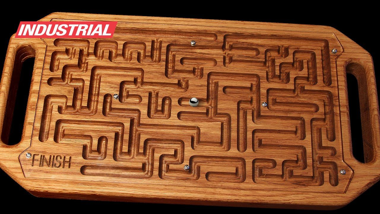 wooden game maze puzzle with steel ball bearing cnc project