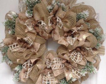 Snowy Night Winter Ribbon Deco Mesh Wreath
