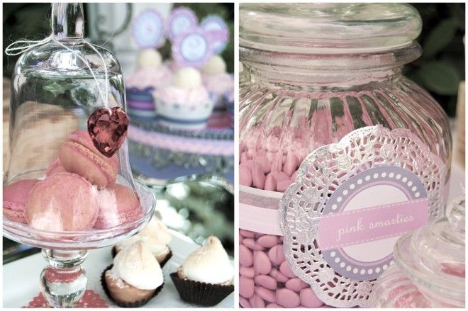Spray painted (silver) doily and label wrapped around a candy jar................  http://www.candysoirees.com.au/