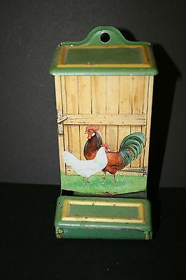 Vintage Tin Match Box Holder Farm Scene Chickens Amp Rooster
