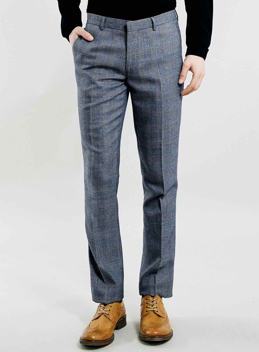 711b8cd1b4797e BLUE PRINCE OF WALES CHECK SKINNY FIT SUIT TROUSERS - Topman ...