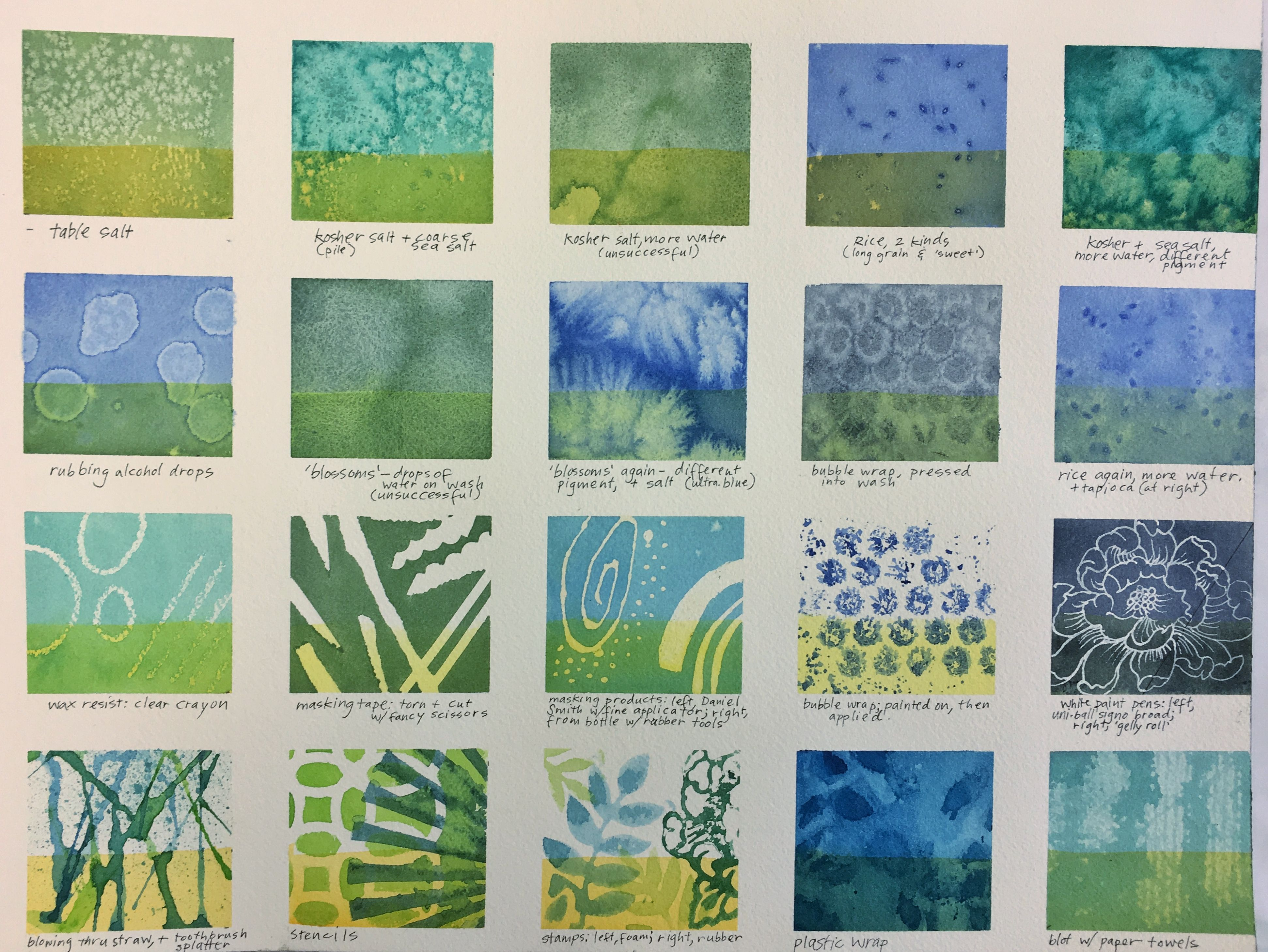 Sampler Of Special Watercolor Techniques In Grid Format