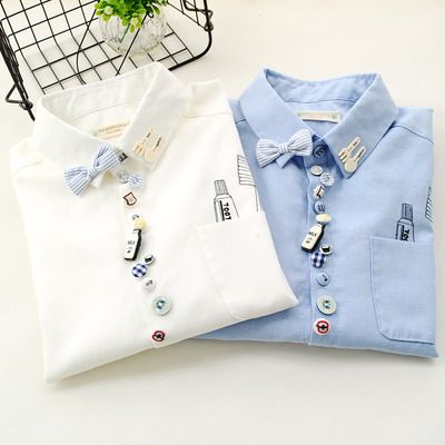 Bowknot Buttons Milk Bottle Girl Cotton Shirts  $24.90  10% off discount code sweetbox for new arrivals .