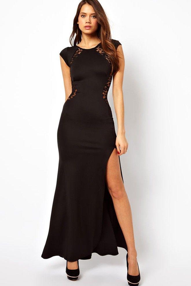 7defa5ae715 Women s Black Lace Sexy Fashion Gown Clubwear