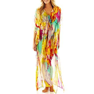 da6a3e9acd Cover To Cover Print Chiffon Caftan Cover-Up - jcpenney