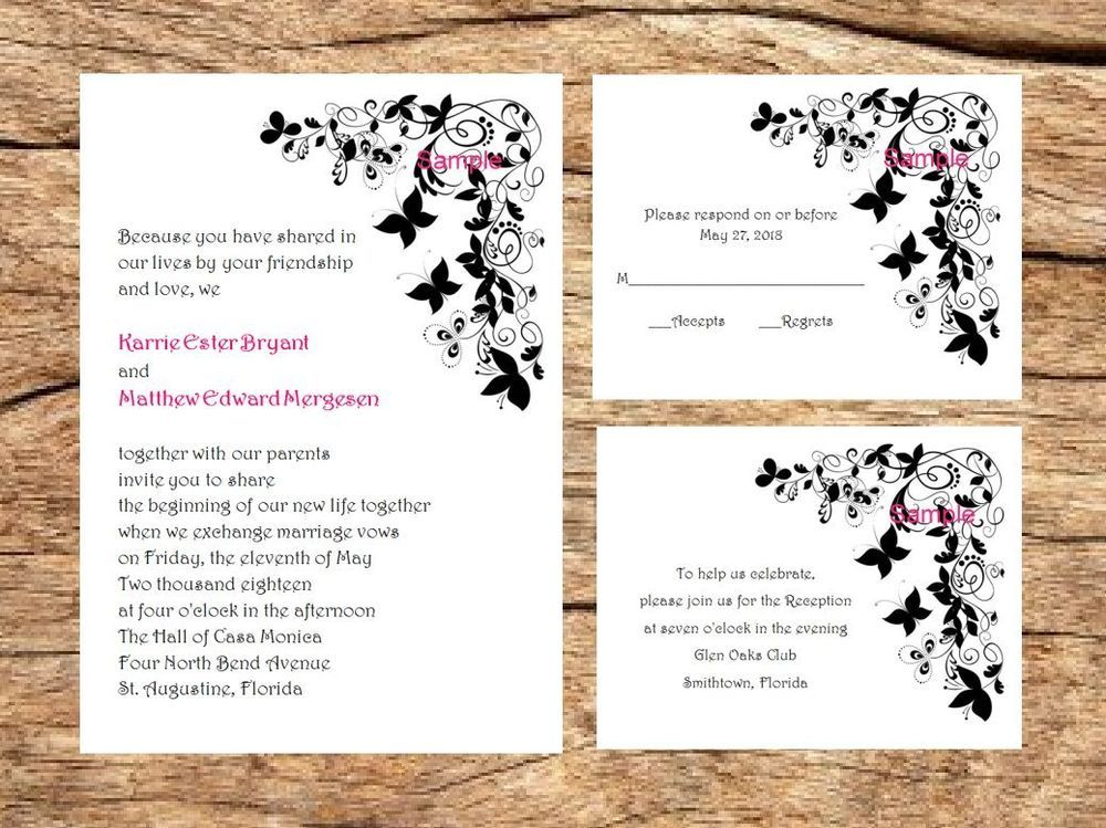 100 Personalized Printed Black Butterfly Border Wedding Invitations ...