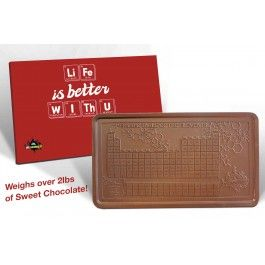 Life is Better With U Periodic Table Solid Milk Chocolate Block - 2lbs of Sweet Chocolate!