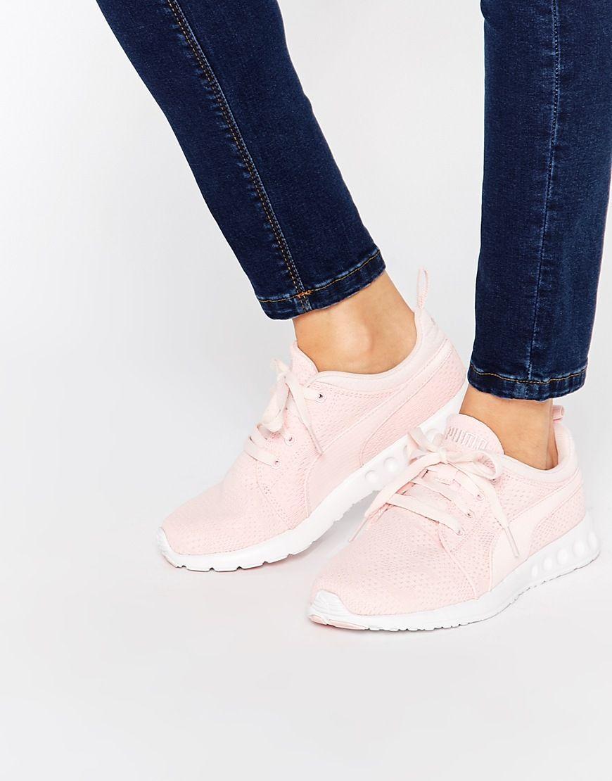 6b248639da91a3 Image 1 of Puma Carson Runner Camo Mesh Pale Pink Sneakers