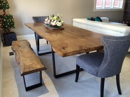 Live Edge Dining Room Table Boardroom Wood Bench City Of Toronto GTA Image 1