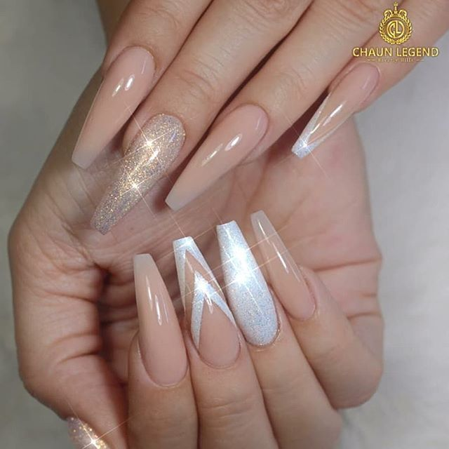 Elegant And Classy Long Coffin Nails In Nude Gel Polish Nude And