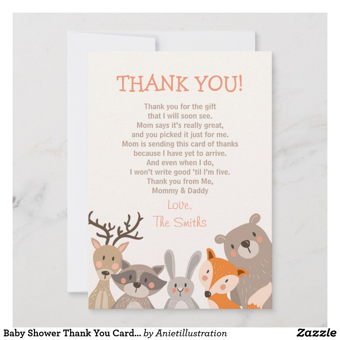 Baby shower thank you card woodland baby