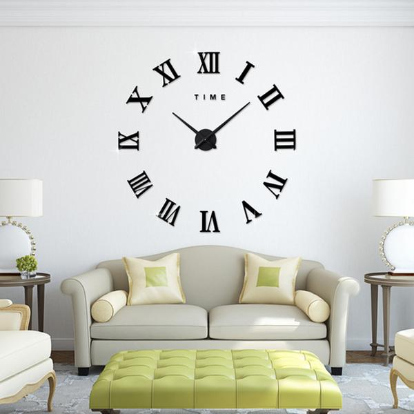 Diameter 40cm 100cm Diy Roman Numerals Wall Clocks 3d Mirror Clock Wall Stickers Big Wall Clocks Wall Clock Sticker Best Wall Clocks