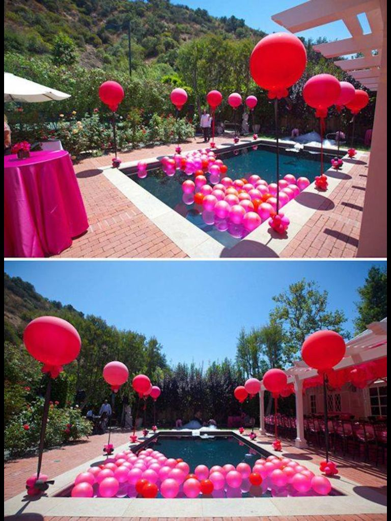 Pool party of balloons!! Summer pool party, Luau party