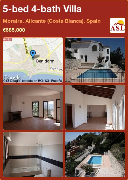 5-bed 4-bath Villa in Moraira, Alicante (Costa Blanca), Spain ►€685,000 #PropertyForSaleInSpain